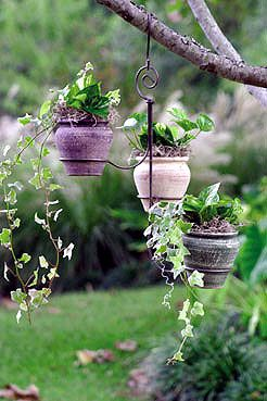 Tree hanging planters :).. would be easy to make with some wire hangers, a pair of pliers with a cutter, and some round planters :)