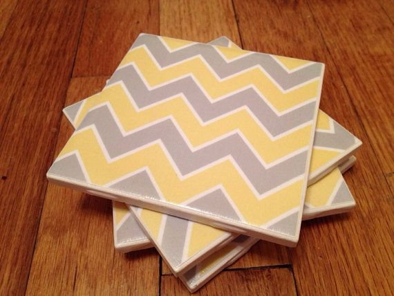 Yellow and grey chevron coasters by GoodiesbyGinger on Etsy