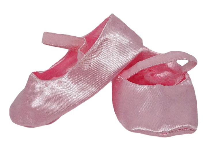 This pale pink satin slipper is a soft construction with an elastic foot strap. Great for little ones who don't want to fiddle with tying ribbons.