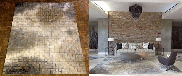 Mosaic stitch / Organic layout / Gris hide / 2.5M X 3.5M / www.johnoduplessis.co.za