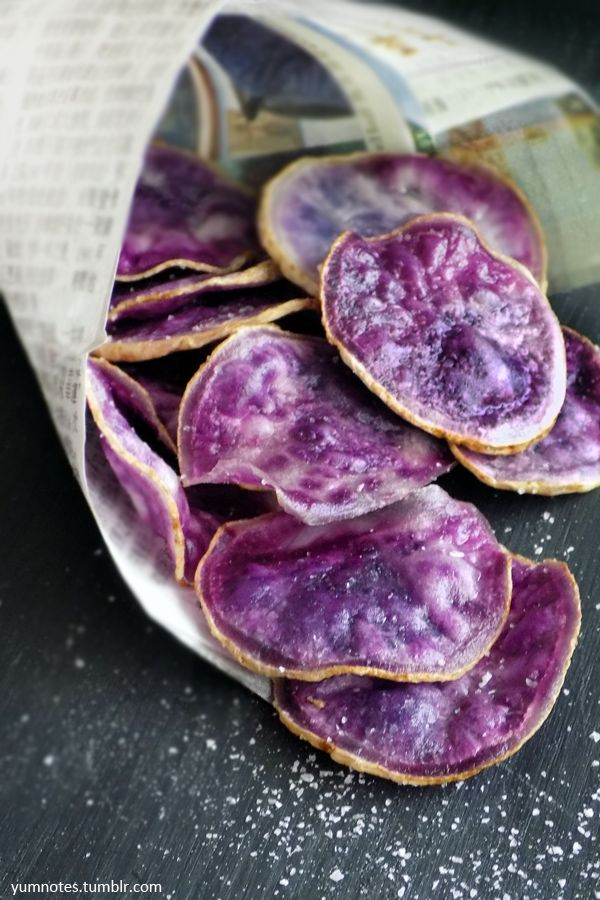 Okinawan Potato Chip Recipe | Yum NotesToday is March 14 2016 National Potato chip day and also Pi day. The history and origin of potato chips goes something like this. Chef George Crum created the first potato chip in 1853 when an annoyed diner complained about his thick and soggy french fries. The chef then sliced it thin, and fried them—much to the customer's delight!I happen to have some Okinawan potatoes in the fridge, so I've made potato chips instead of pie. Okinawan sweet potatoes…