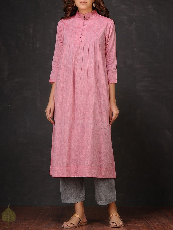 Buy Pink Pleated Mangalgiri Cotton Kurta by Jaypore Women Kurtas The Bejeweled Lady Upcycled fabric jewelry contemporary apparel Online at Jaypore.com