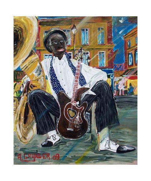 TABLEAU PEINTURE jazz guitare Nouvelle Orléans musicien Scène de genre Acrylique  - Cool man now i can