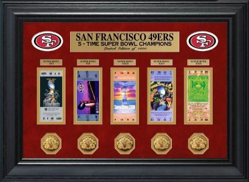 San Francisco 49ers Super Bowl Framed Ticket and Game Commemorative Coin Collection  Highland Mint LIMITED EDITION NFL Football Collectible  Great Sports Gift *** You can get additional details at the image link.