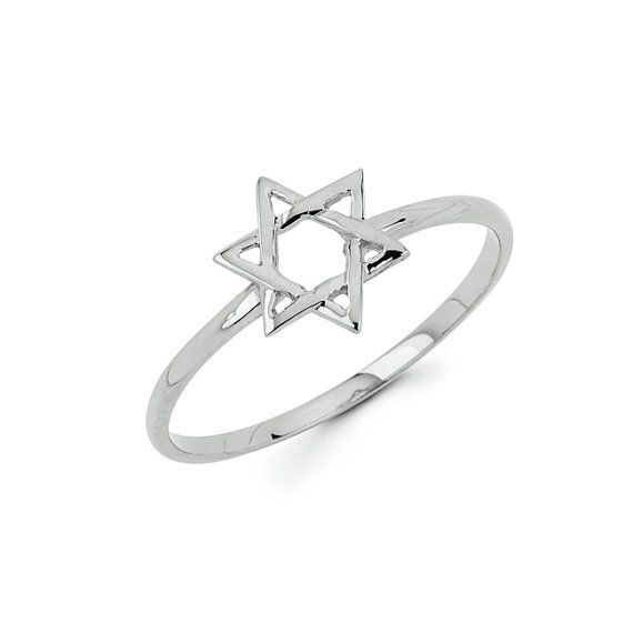 Dainty Solid 14k Gold Star of David... can be worn as a nice ring, and made into a Knuckle Ring. Measures 1/4 wide.