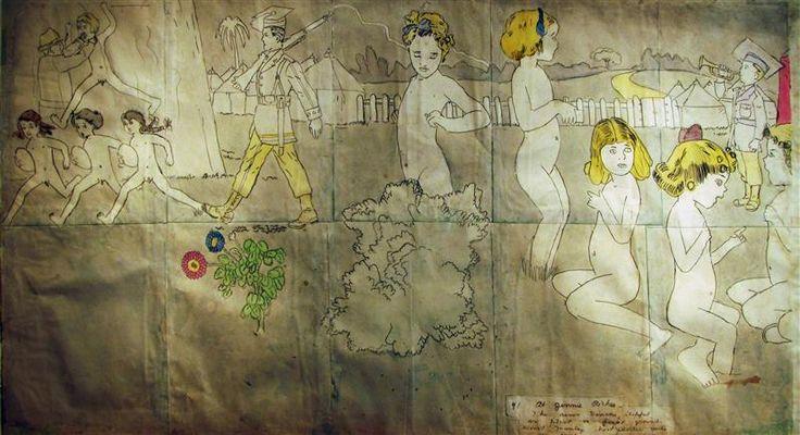 ヘンリー・ダーガー展のアナログな裏表水彩画 - すそ洗い