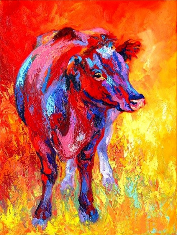 Warm-koud contrast Het warm-koud contrast wordt gevormd door warme kleuren, zoals rood-tinten, naast koude kleuren, zoals blauw-, paars-, of groen-tinten te zetten. Warme tinten komen meer naar de beschouwer toe en koude tinten gaan meer naar de achtergrond.  In dit schilderij is er een warm-koud contrast te zien. De kleuren van de koe zijn koude kleuren zoals paars en blauw en die van de achtergrond zijn warm zoals rood, geel en oranje.