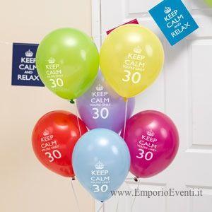palloncini keep calm trentesimo compleanno
