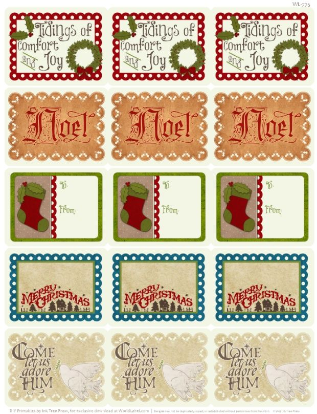Free Printable Christmas Labels - part of a large collection