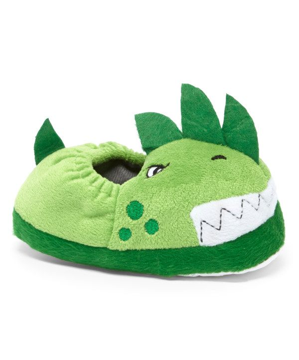 Look at this Zac & Evan Green Dinosaur Slipper on #zulily today!