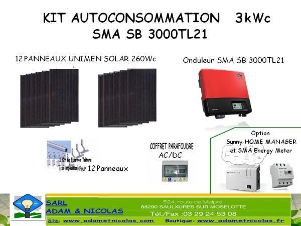 - Kit Photovoltaique Auto consomation 3000 Wc-ONDULEURS SMA- Vente en ligne panneaux solaires Vosges - kits photovoltaïques - Installer Panneau Materiel Solaire