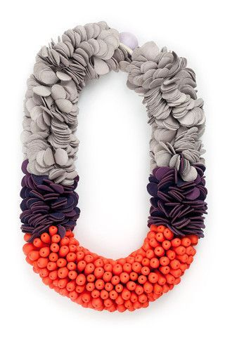 EMILY HEATH: orange polymer clay, purple and grey leather, waxed linen, cotton cord