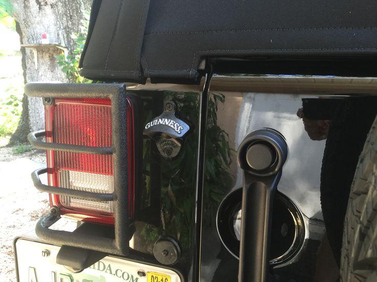 guinness bottle cap opener mounted on backside of a jk jeep jeeps and more jeeps pinterest. Black Bedroom Furniture Sets. Home Design Ideas