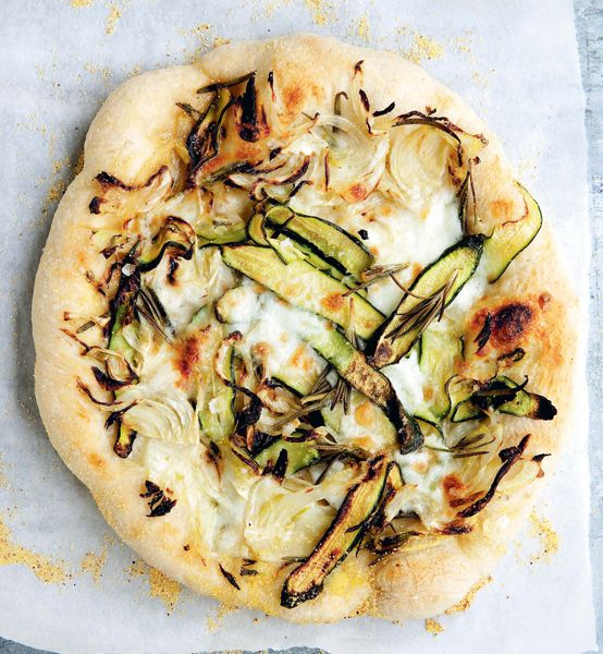 Shaved zucchini and onion pizza