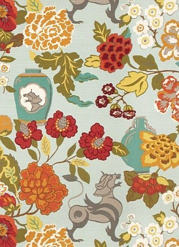 "03373 Exotic Sky - Vern Yip Fabric Collection - Decorative floral fabric. Content; 44% Cotton, 31% Linen, 25% Rayon. Perfect for bedding, drapery or light use upholstery. Repeat H 27"" x V 27"". 54"" wide. Please note 12 yard minimum"