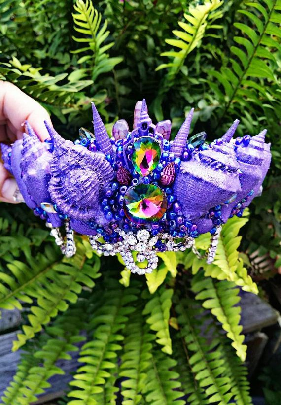 Check out this item in my Etsy shop https://www.etsy.com/listing/543733109/purple-seashell-crown-orion-festival-or