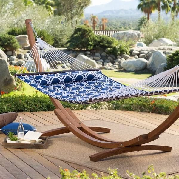Island Bay 13 ft. Hampton Lattice Quilted 2 Person Hammock - 51324-BLQU