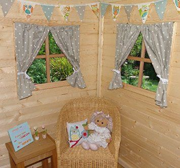 PLAYHOUSE CURTAINS ~ GREY DOTTY ~ WITH TIE-BACKS & FITTINGS ~ WENDY HOUSE DECORATION