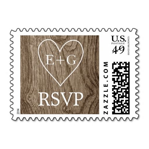 Heart with initials on wood wedding RSVP Postage Stamp. #wedding, #RSVP #wood #initials #postagestamp