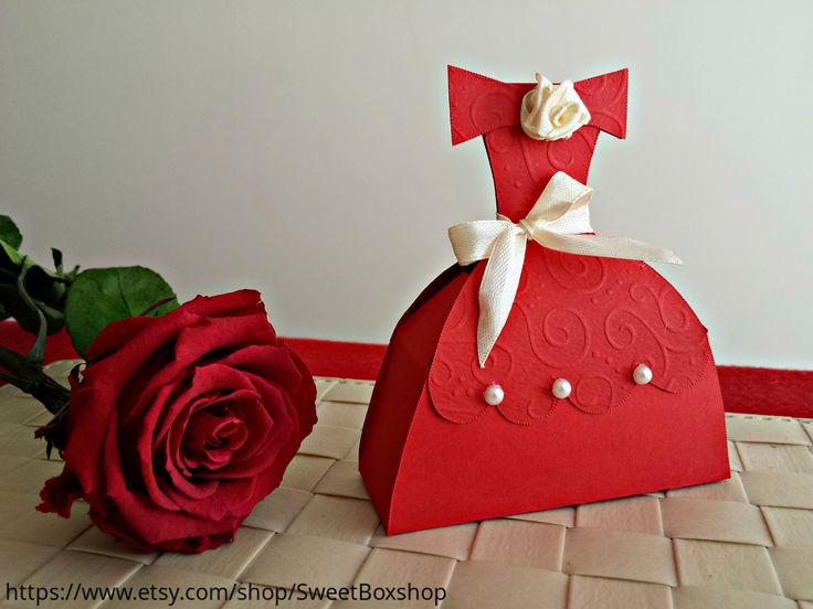 Red Princess Favor Boxes, Princess Dress Gift Boxes