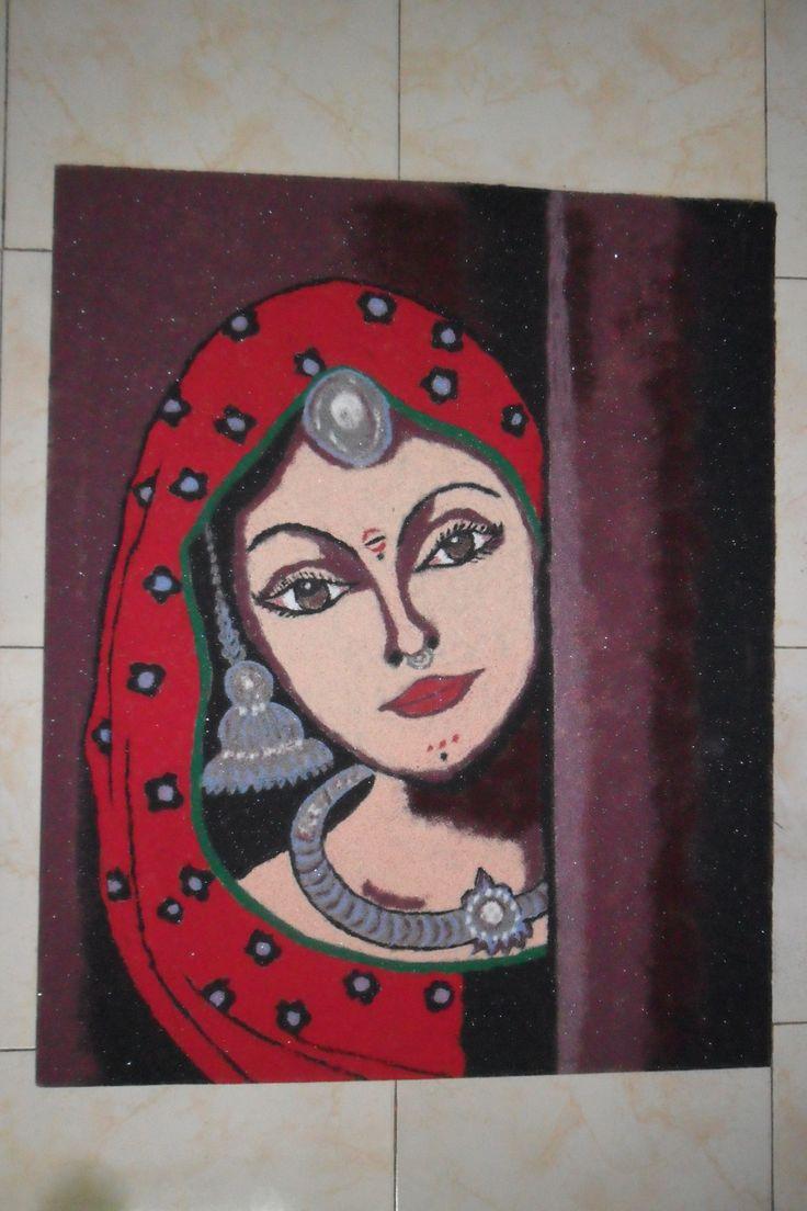 Indian Art - Beautiful rangoli for diwali Village girl rngoli, so attractive! #Portrait #Rangoli #art #drawing