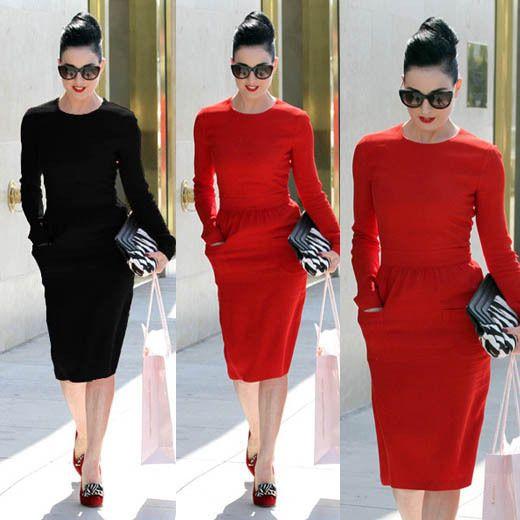 New Women Slim Fit Celebrity Long Sleeve Knee Length ...