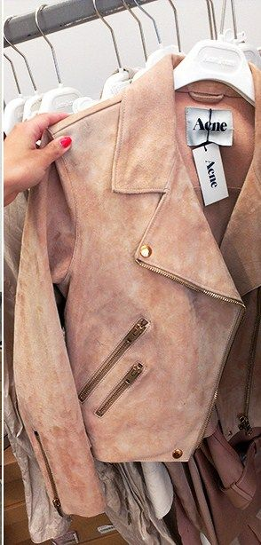 WAANT! THE COLOUR! Acne leather jacket www.stylebyjasmine.blogspot.com www.pinterest.com/stylebyjaz