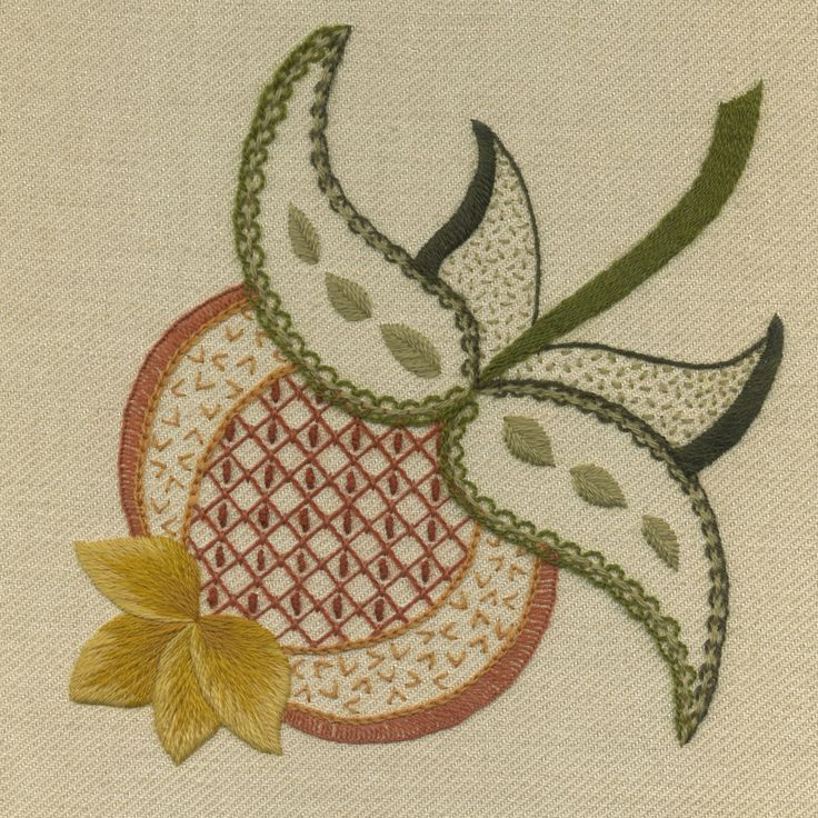 'Pomegranate' Jacobean Crewel Work Embroidery--
