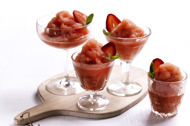 An icy slushie is transformed into a fruity cocktail with this.PIMM's recipe. Strawberries are a food aren't they??