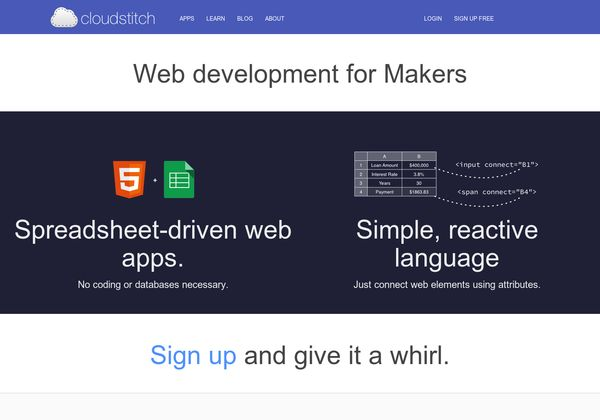 Cloudstitch | Spreadsheet-driven web apps. No coding or databases necessary.