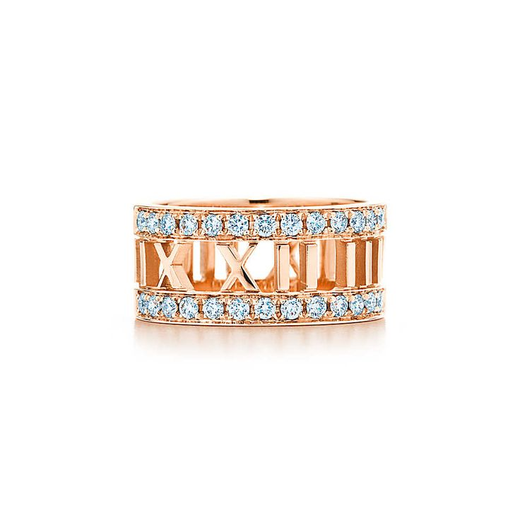 Atlas® open ring in 18k rose gold with diamonds. | Tiffany & Co.