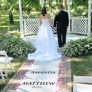 Tapis de sol pour eglise ou ceremonie de mariage en plein air décoré des prénoms des amriés et du signe &