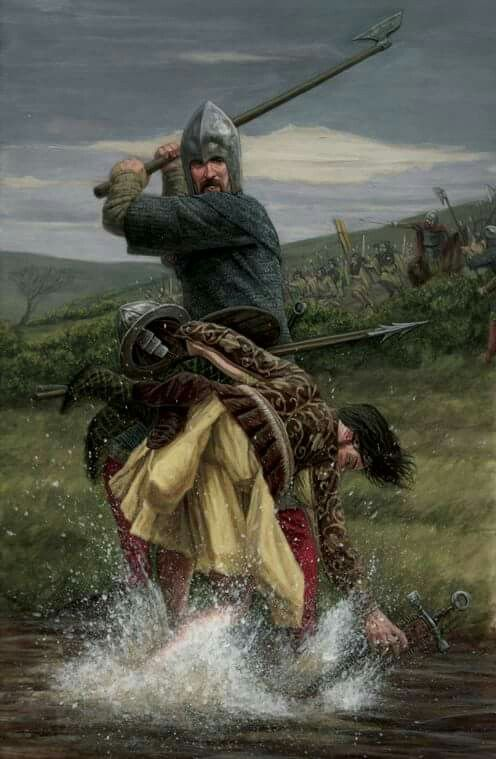 One of O'Donnell's MacSweeney Galloglass cutting down one of Shane O'Neill's Kern at the pivotal Battle of Farsetmore on the River Swilly just outside Letterkenny.