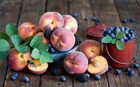 Wallpaper fruits, berries, peaches, blackberries, blueberries, bucket