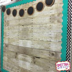 Cover your bulletin board with wood grain patterned paper to give it a cute…