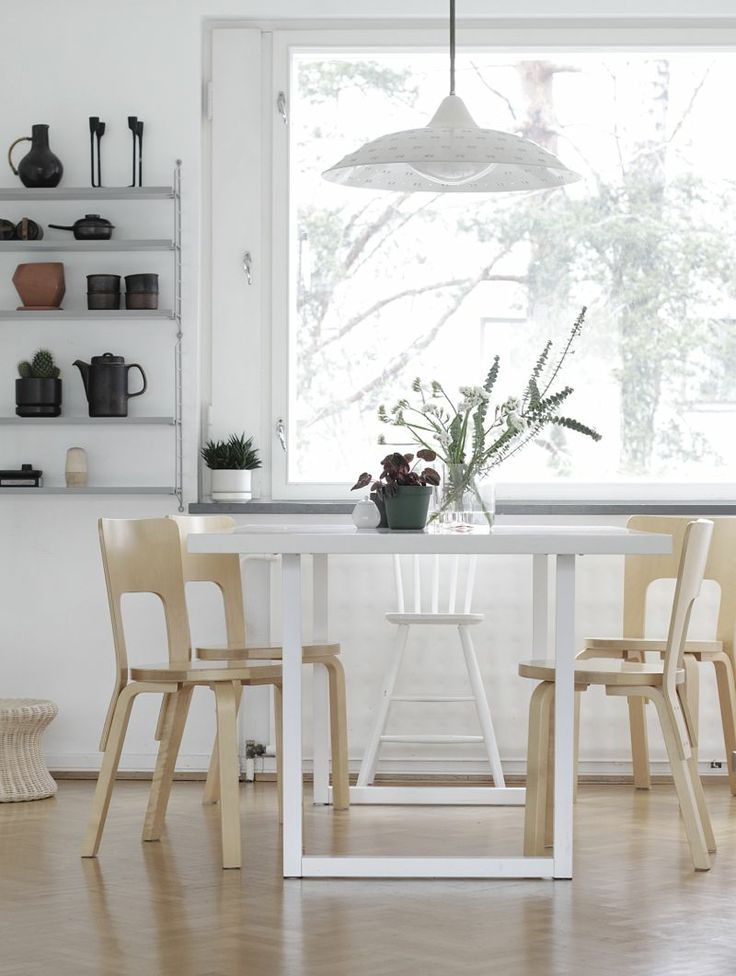 Artek 66 chairs, white table, string shelves, Lisa Johansson-Pape lampshade | photo Minna Jones