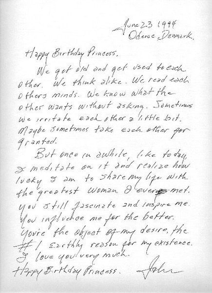 This letter was written by Johnny Cash to his wife June Carter on her 65th birthday, in 1994.