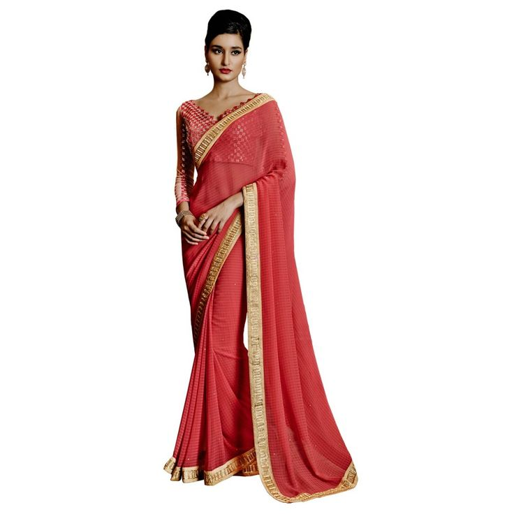 Pink Georgette Festival #Saree With Blouse- $47.10