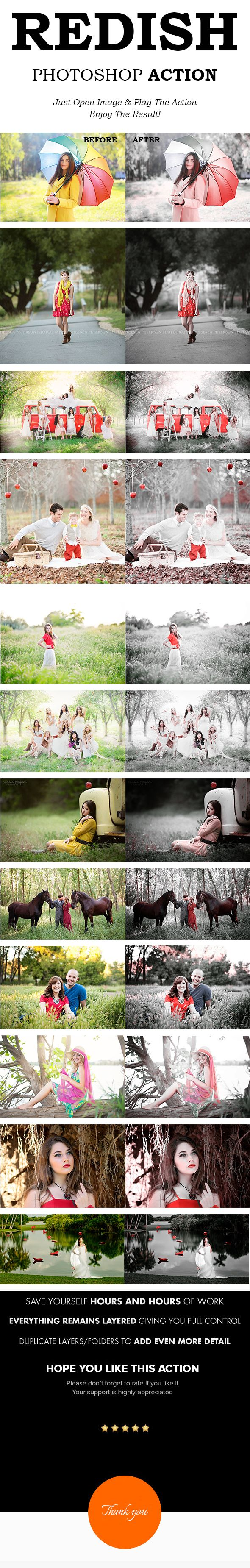 """The """"REDISH"""" Actions will help you create beautiful Black & Redish effect on Your Photography using one click!!. """"Redish"""" is a very Professional Photoshop actions made for Specially Wedding Photography or Colorful Outdoor Photography"""
