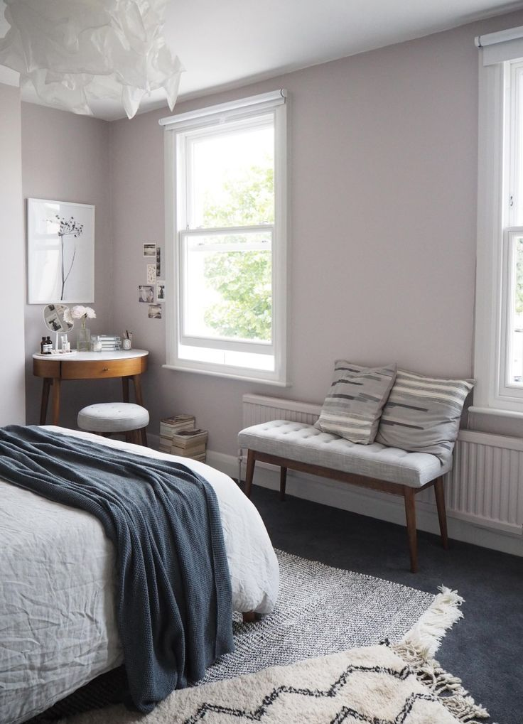 Soft blush pink bedroom perfect relaxing bedroom colour scheme from Catesthill. Gorgeous mix of soft pastels and depth from the warmer darker tones, with just the right hint of pink on the walls. Definitely a dreamy place to rest.