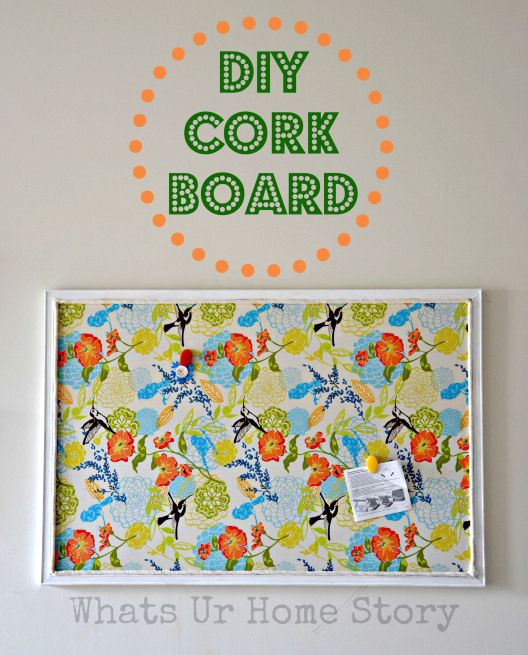 Give a facelift to a $5 Thrift store cork board using fabric. DIY Cork Board Tutorial www.whatsurhomestory.com