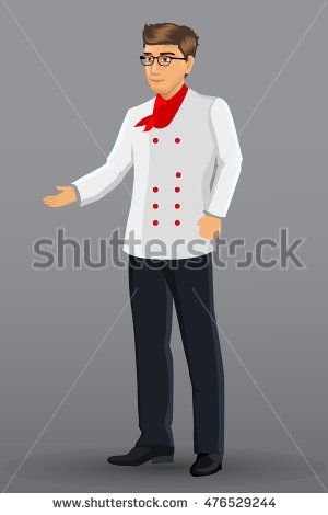 vector illustration of a man who works as a chef