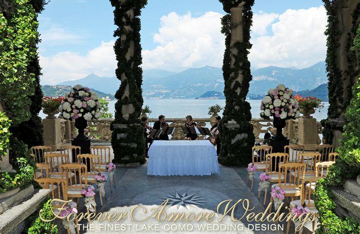 Lake Como wedding ceremony, Villa Balbianello, Loggia Durini (Arched Loggia). Picture by ForeverAmoreWeddings ©