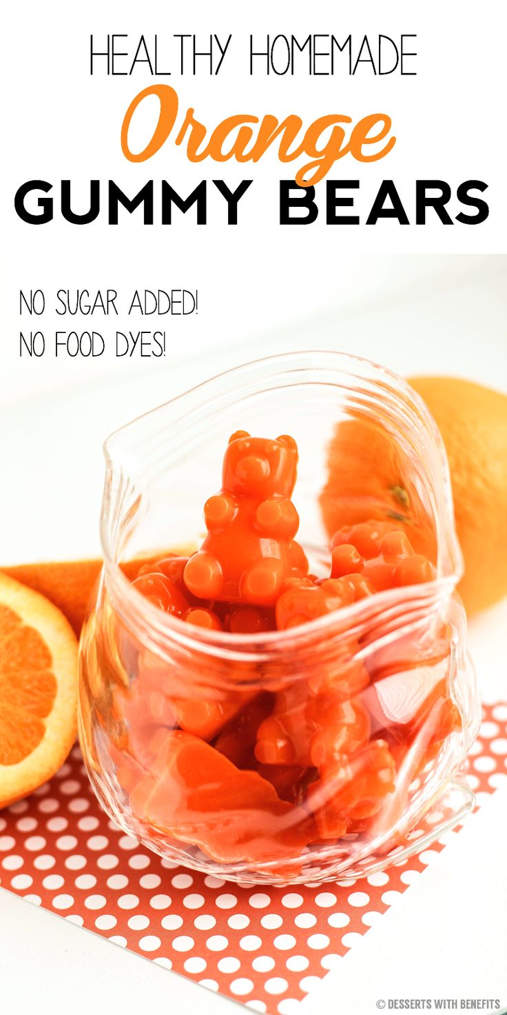 These 5-ingredient Healthy Homemade Orange Gummy Bears are just like the storebought kinds -- they're soft, sweet, super chewy, and bursting with bright orange flavor!  You'd never know they're fat free, refined sugar free, gluten free and all natural...  YUP, that means no high-fructose corn syrup, artificial food flavorings, synthetic food dyes or preservatives whatsoever!
