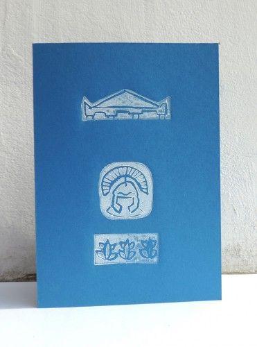 Unique handmade card, linocut, ancient Roman motifs