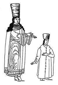 М. Короткова. Традиции русского быта (15). Зимой девицы покрывали голову высокой шапкой, которая называлась столбунец. Низ ее оторачивали бобровым или собольим мехом, а высокий верх делали из шелка. Из-под столбунца выпадали косы с красными лентами. Дело в том, что под столбунец надевали еще повязку, спереди широкую и сзади узкую, которая там же и завязывалась лентами. К девичьим лентам пришивали косники — плотные треугольники из кожи или бересты, обтянутые шелком или расшитые бусами…