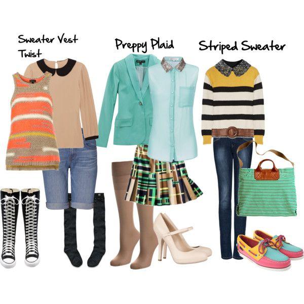 three preppy school outfits