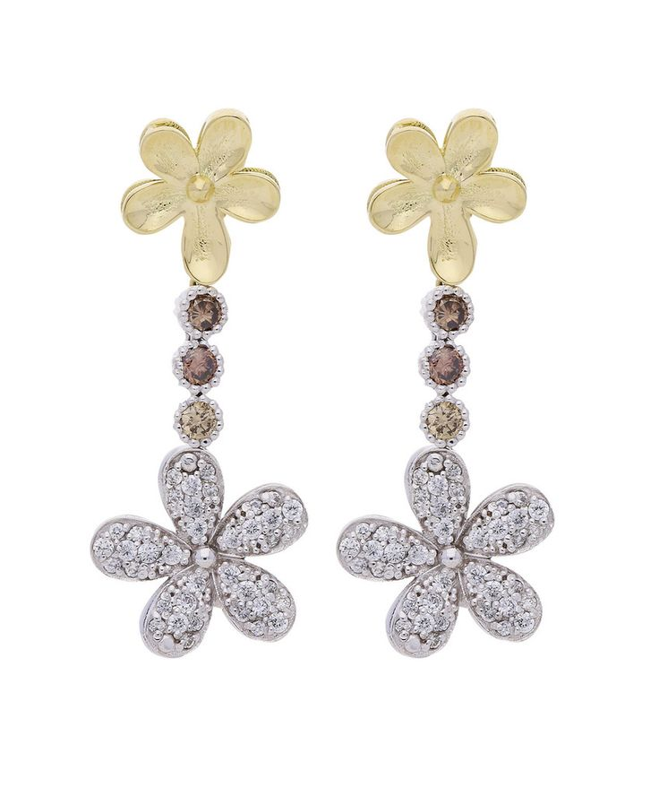 White & yellow 18 ct gold and diamond Love Me Daisy Drop Earrings by Jenna Clifford