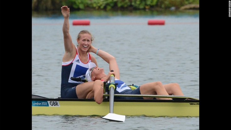 Great Britain's Helen Glover and Heather Stanning celebrate after winning gold in the women's pair final rowing event on day 5 of the London 2012 Olympics on Wednesday, August 1. Check out Day 4 of competition from Tuesday. The Games run through August 12. See all the action as it unfolds here.