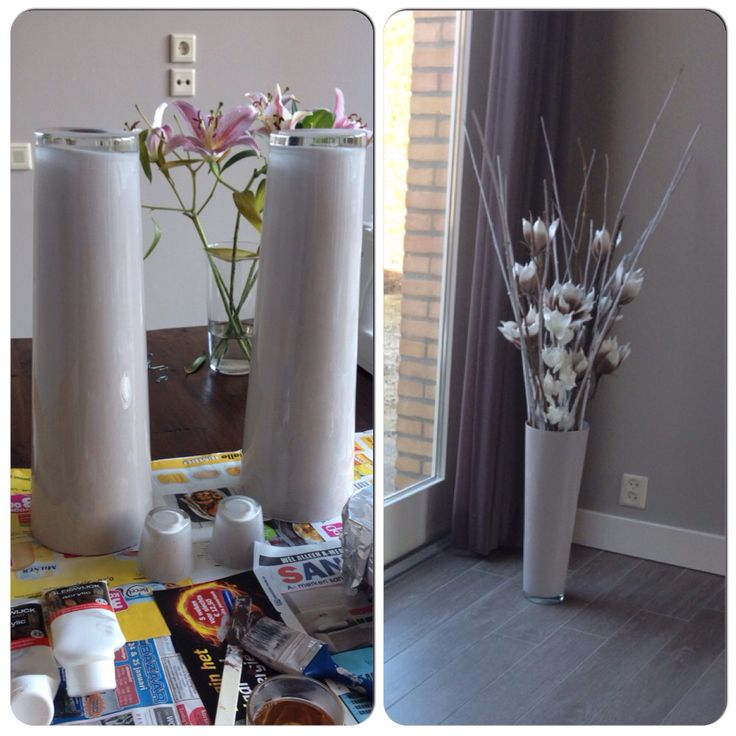 Zelfgemaakte decoratie:) vazen schilderen, takken wit spuiten en nepbloemen erbij ❤️